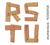 Rustic Wooden Alphabet Letters R, S, T, U made from pieces of wood screwed together, grain and texture on white, illustration, EPS10 - stock vector