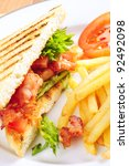 BLT Sandwich with french fries - stock photo