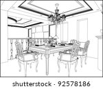 Dining Room Vector 03 - stock vector