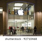 BELFAST, NORTHERN IRELAND - JANUARY 1: the Apple store on January 1, 2012 in the Victoria Square mall in Belfast, Northern Ireland. Apple is the world's most valuable company by market capitalisation. - stock photo