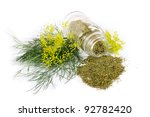 Glass bottle with dill on white background - stock photo
