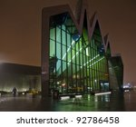 GLASGOW, SCOTLAND - DECEMBER 30: the exterior of the Riverside Museum on December 30, 2011 in Glasgow, Scotland. The Riverside Museum opened in June 2011 and replaces the city's Transport Museum. - stock photo