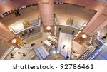 BELFAST, NORTHERN IRELAND - JANUARY 1: the interior of the Victoria Square shopping centre on January 1, 2012 in Belfast, Northern Ireland. The £400m mall is the largest in Northern Ireland. - stock photo
