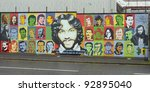 BELFAST, NORTHERN IRELAND - DECEMBER 31: a mural shows image of Terence Joseph MacSwiney, the Sinn Fein politician, author and playwright, on December 31, 2011 in Belfast, Northern Ireland. - stock photo