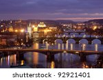 czech republic, prague - bridges over vltava river at morning light - stock photo