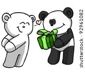Panda bear giving Polar bear a gift (vector) - stock vector
