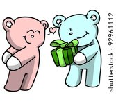 Blue bear giving pink bear a gift (vector) - stock vector