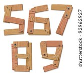Rustic Wooden Digits Numbers Alphabet Letters 5, 6, 7, 8, 9 made from pieces of wood screwed together, grain and texture on white, illustration, EPS10 - stock vector