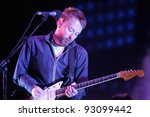 BUDAPEST - AUG 12: The rock band Radiohead perform in concert at the Sziget music festival in Budapest, Hungary, on  Saturday, August 12, 2006. - stock photo