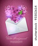Heart of lilac flowers in an envelope. An illustration on a theme of Valentine's day - stock vector