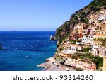 View towards the coastal town of Positano on the Amalfi coast of Italy - stock photo