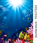 Vector illustration with underwater world of the tropical sea, coral reefs, colored fishes and bright beams of sunlight penetrate and shine through the  water's surface - stock vector