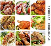 Collage of chicken dishes.  Includes honey soy chicken drumsticks, salads, buffalo wings, schnitzel, roast, chili, cacciatore, satay sticks. - stock photo
