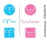 Man and woman symbol set - stock vector