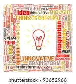 Idea and think info-text graphics and arrangement concept on white background - stock photo