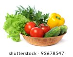 Vegetable - tomato, cucumber, pepper isolated on white background - stock photo