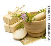Natural cosmetics - soap, bath salt and medicine herbs - stock photo