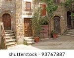 italian yard in tuscan village Pitigliano, Europe - stock photo