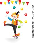 circus clown with flags and balls - stock vector