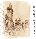Old Town Square, Prague, Czech Republic - a vector sketch - stock vector