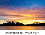Silhouetted Sydney Australia Skyline - stock photo