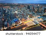 Melbourne, Australia at night - stock photo