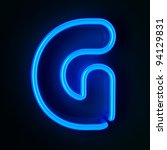 Highly detailed neon sign with the letter G - stock photo