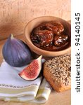 Homemade fig jam with bread fresh figs - stock photo