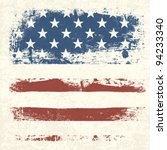 American flag vintage textured background. Vector, EPS10 - stock vector