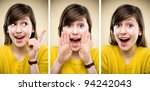 Young woman facial expressions - stock photo