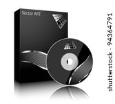 Software black box and disc isolated on white background. Vector. - stock vector