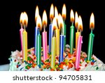 many candle on a a birthday cake - stock photo