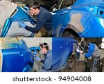 Four steps to repair a car crash - collage. - stock photo