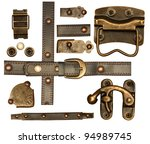 Collection of metal and leather elements for scrapbooking design. Isolated over white - stock photo