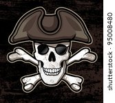 Pirate Skull with Hat - stock vector