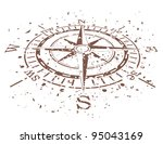 vector design of grunge compass - stock vector