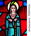 Stained glass window of Blessed Kateri Tekakwitha, Mohawk Indian who will be canonized a saint in 2012 - stock photo