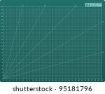 Scrapbook cutting mat A4 with cm grid and 15 degree rotation lines - vector - stock vector