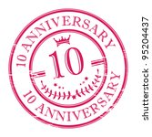 Stamp 10 anniversary, vector illustration - stock vector