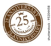 Stamp 25 anniversary, vector illustration - stock vector