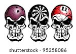 bowling, darts and billiard skull - stock vector