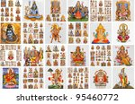 collection of hindu religious icons on ceramic tiles as poster - stock photo