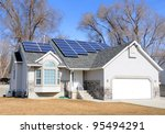 Solar Panel Powered Home - stock photo