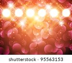 spotlights with stars over holiday background - stock vector