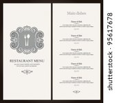 Restaurant menu design with vintage label - stock vector