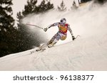 BANSKO, BULGARIA - FEBRUARY 26 :Lindsey Vonn (USA) takes 1st place during the Audi FIS Alpine Ski World Cup Ladies' Super G on February 26, 2012 in Bansko, Bulgaria - stock photo