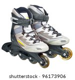roller skates isolated on white - stock photo