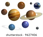 9 Planets Isolated - stock photo