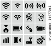 Wireless technology, black web icons set. - stock vector