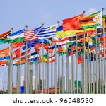 The CHINA and USA flags,World Each Nation National flags - stock photo